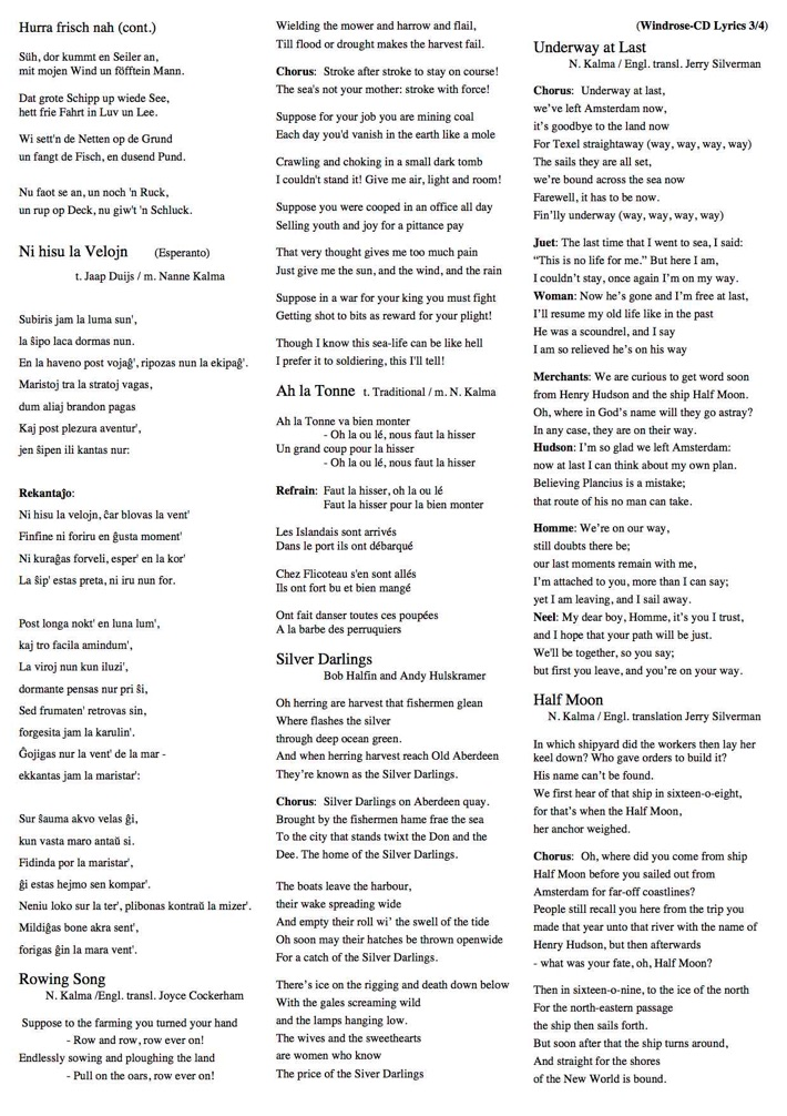Below: the lyrics of the 'Windrose'-album by Nanne & Ankie ...